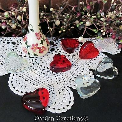"""1 Dozen LARGE 1.75"""" GLASS VALENTINE'S DAY HEARTS Tabletop Decorations RED CLEAR"""