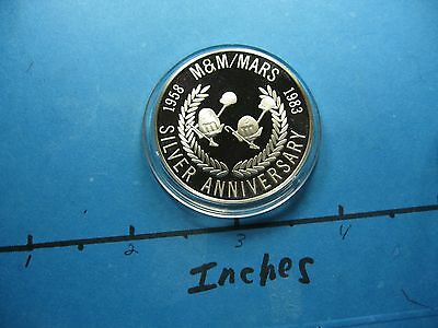 M & M's LITTLE GUY MARS 25TH ANNIVERSARY 1983 VINTAGE SILVER COIN ONLY 1 ON EBAY