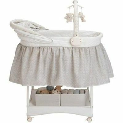 #534 Gliding Bassinet Swing Born Infant Seat Cradle Chair Home Room Portable Lit