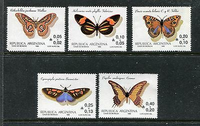 Argentina B111-B115, MNH, Insects Butterflies 1985. x23809