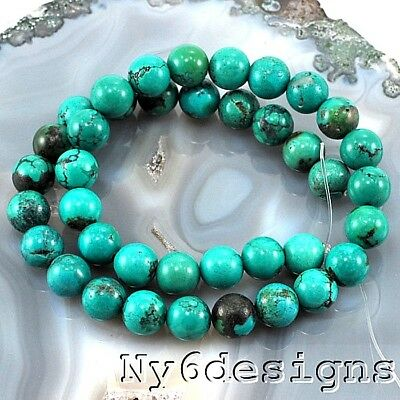 """10x10mm Natural Blue Hebei Turquoise Round Spacer Beads 15"""" (TU606)b DIY"""