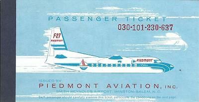 Airline Ticket - Piedmont - F27 cover - 1 Flight Format - 1963 (T342)