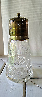 Vintage Crystal Sugar Sifter With Epns Silver Plate Lid