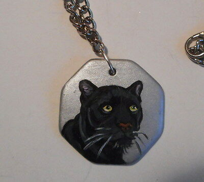 Black Panther Unisex chain Necklace Hand Painted Ceramic Pendant