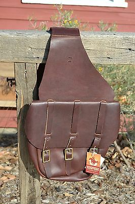 Bugundy Chap Leather Calvary Style Saddle Bags - 3 Buckle