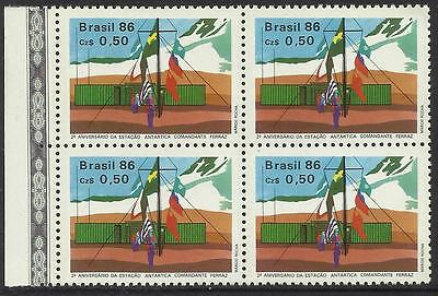 BRAZIL 1986 ANTARCTIC BASE FLAGS BLOCK of 4 1v Mint Never Hinged