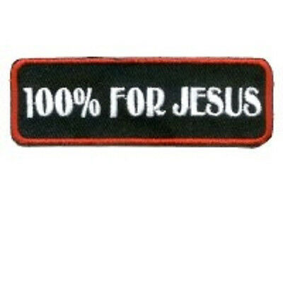 100% For Jesus Christian Red Small Embroidered Patch