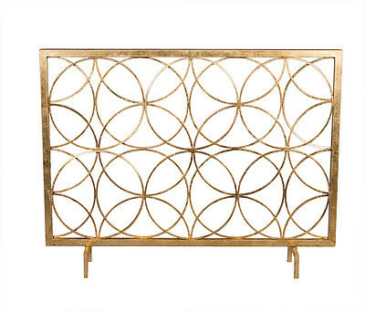 Contemporary Geometric Antique Gold Iron Circles Fireplace Fire Screen,41''L