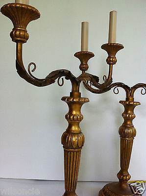 Pair French Late 19th Louis XVI Style Gilt Bronze 2 Arm Chandelier Table Lamp