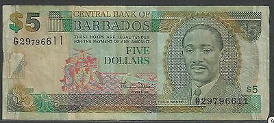 BARBADOS $5 BANKNOTE USED Sir Frank Worrell Cricketer & Politician No G29796611