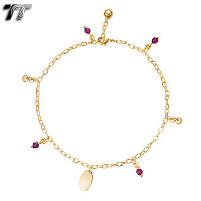 New an10 Tt 18k Gold Filled Chain Pearl Anklet Jingle Bell Ajustable