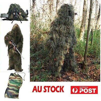Ghillie 5x Suit Set Woodland Camouflage Hunting Hunter Archery Sniper Hide Cloth