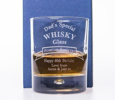 (GD) Personalised BIRTHDAY WHISKY GLASS Gift 40th/50th/60th/65th/70th/80th/Dad
