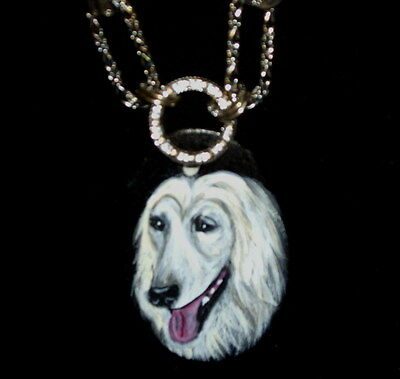 Afghan Hound dog Necklace Hand Painted Ceramic Pendant OOAK