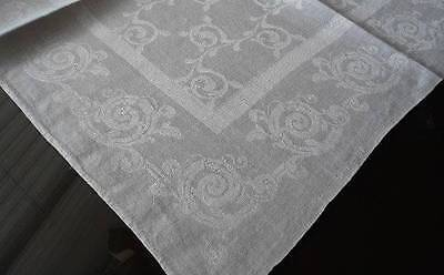 8 Large Antique Irish Linen Damask Napkins Art Deco Scrolls Set 22""