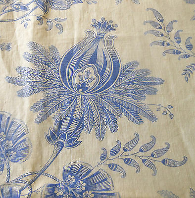 Antique19thc French Blue White Indienne Floral Toile Cotton Linen Fabric ~Patina