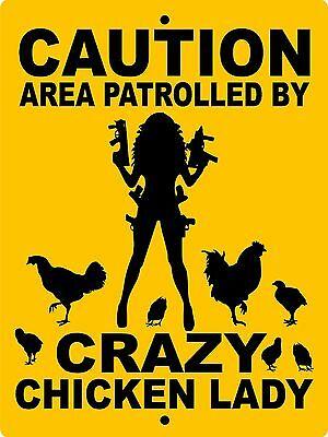 CRAZY LADY CHICKEN SIGN, Aluminum,Animals,Farm sign,Pigs,Rooster,horses,CCLADY1