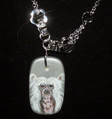Chinese Crested Dog Chain Necklace Hand Painted Ceramic Pendant