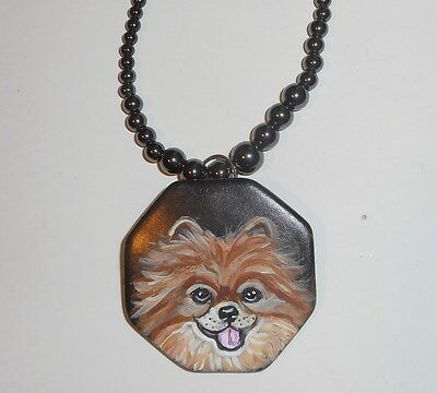 Red Pomeranian dog Beaded Necklace Hand Painted Ceramic Pendant Pin brooch OOAK