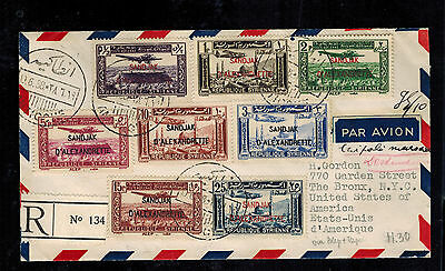 1938 Syria Airmail Cover to USA Sandjak Overprints Set