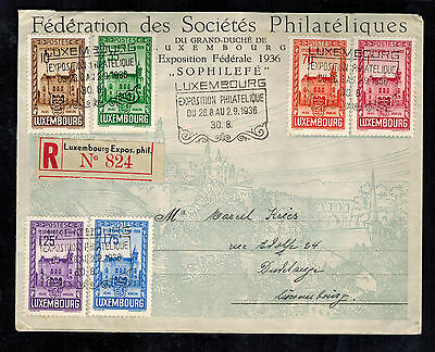 1936 Luxembourg Registered First Day Cover #200-205 complete set FDC