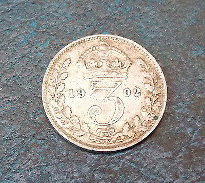Edward Vii 1902 Silver 3D Threepence Coin Very Nice Collectable Condition