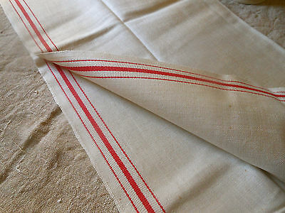 Vintage Startex Linen and Cotton Towel ~ Americana RED Ticking Stripe ~ 1950's