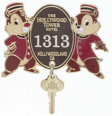 Disney Parks Tower Of Terror Chip And Dale Pin 1313 Hollywood Tower Hotel New