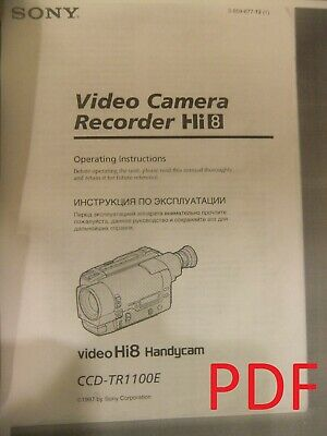 Instructions SONY Video camera Hi8 Handycam CCD-TR1100E CD/Email