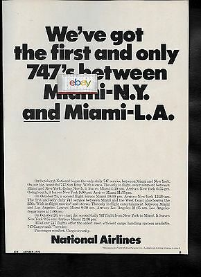 National Airlines 1970 First & Only 747's New York/miami & Miami/lax Ad