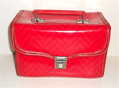 Splendido cestino asilo rosso anni 60 - Vintage 60s Glossy Red bag lunch box