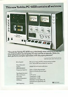 Toshiba PC-6030 Hi Fi Stereo Cassette Deck All We Know 1970s Vintage Advert
