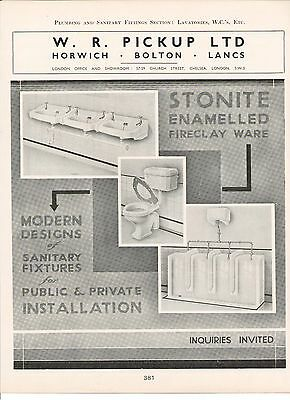 Pickup Horwich Bolton Stonite Fireclay Sink Urinal Lavatory 1938 Vintage Advert