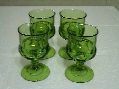"""Indiana Thumbprint Kings Crown Set Of 4 Green Wine Goblets 4 3/8"""" Tall"""