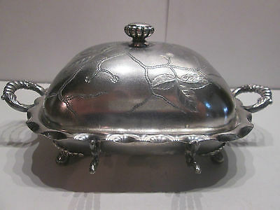Antique Victorian Pairpoint Quadruple Silverplate Etched Butter Dish With Lid