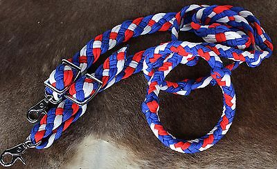 Horse Lot 12 Roping Knotted Tack Western Barrel Reins Nylon Braided 60710Bulk