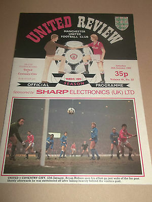 Manchester United V Coventry City Fa Cup 4Th Round Football Programme Inc. Token