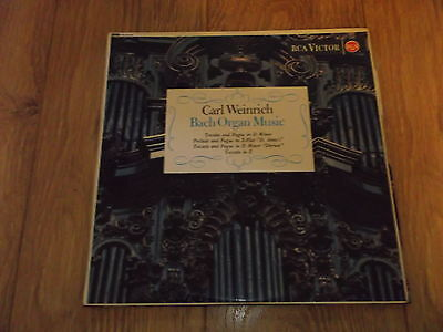 "Carl Weinrich "" Bach Organ Music "" Rca Victor Red Seal 1961 Ex/ex"