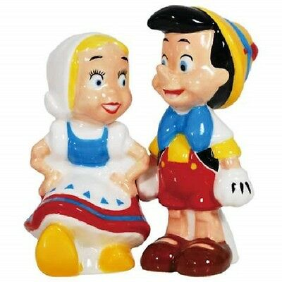 Disney Pinocchio and Doll Magnetic Ceramic Salt and Pepper Shakers by Westland