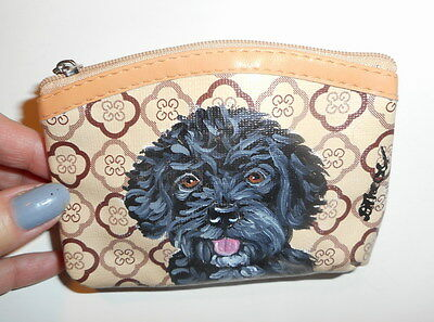 Portuguese Water dog Hand Painted Leather Coin Purse Vegan