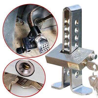 Stainless Steel Car Clutch Pedal Brake Lock Anti-theft Device Tool with 3Keys