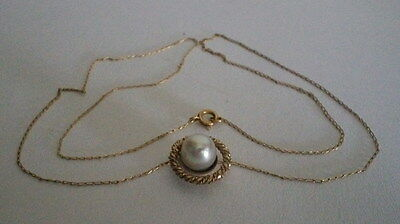 """17"""" Long 14K Gold Chain & 1/2"""" Pearl Pendant  Necklace 2.2 Grams 0989"""