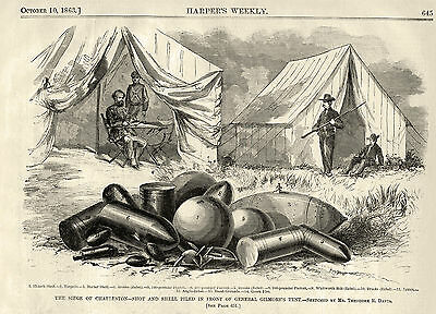 Siege of Charleston, Shot and Shell from Battle at Gen Gilmore Camp 1863 Print