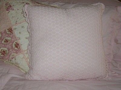 NWT Simply Shabby Chic 18x18 Square Pink Crochet Throw Pillow by Rachel Ashwell