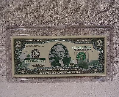 South Dakota  $2 Two Dollar Bill Colorized State Landmark Uncirculated Authentic