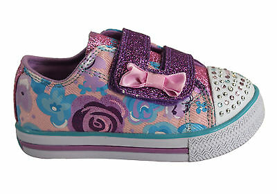 Skechers S Lights Chit Chat Glamour Days Toddler Shoes Adjustable/Comfortable