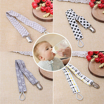 1pcs Baby Dummy Pacifier Soother Nipple 100%Cotton Strap Chain Metal Clip Holder