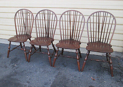 57809  Set Of 4 Oak Windsor Dining Side Chairs
