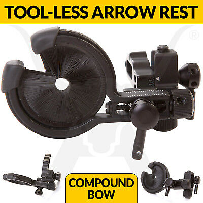 Full Containment Brush Arrow Rest - Tool-less Micro Click Adjustment - Archery