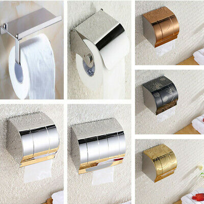 Wall Mounted Bathroom Stainless Steel Toilet Paper Holder Roll Tissue Box Varied